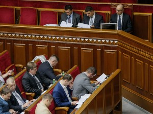 Ukrainian Prime Minister Arseny Yatseniuk attends a session of parliament in Kiev